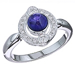 Blue sapphire and white diamond gold ring.