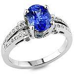 Blue sapphire and white diamond platinum ring.