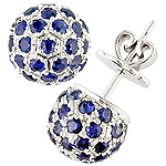Blue sapphire silver earrings.