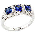 Blue sapphire, white diamond and white gold ring.