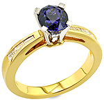 Blue sapphire ,white diamond and yellow gold ring.