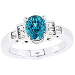 Blue zircon and white diamond gold ring.