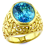Blue zircon and yellow gold ring.