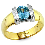 Blue zircon gold ring.