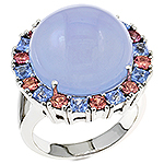 Chalcedony,sapphire,malaia garnet and silver ring.