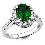 Chrome tourmaline and white diamond gold ring