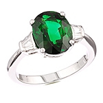Chrome tourmaline and white diamond gold ring.