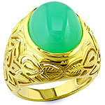 Chrysoprase and yellow gold ring.