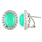 Chrysoprase,white sapphire and silver earrings.