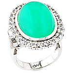 Chrysoprase,white sapphire and silver ring.