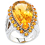 Citrine, sapphire and silver ring.