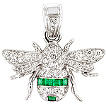 Emerald,white diamond and white gold pendant