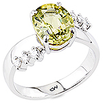 Green chrysoberyl and white diamond gold ring.