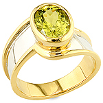 Green chrysoberyl gold ring.