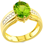 Green peridot and white diamond gold ring.