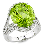 Green tourmaline and white diamond gold ring.