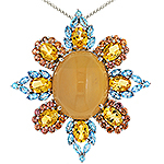 Opal,sapphire,citrine,topaz and silver pendant
