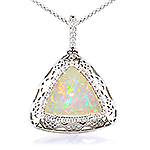 Opal ,white diamond and white gold pendant.