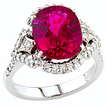 Pink rubellite and white diamond gold ring.