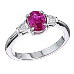 Pink sapphire and white diamond gold ring.