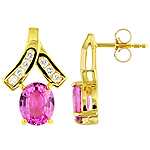 Pink sapphire ,white diamond and yellow gold earrings