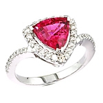 Pink spinel and white diamond gold ring.