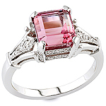 Pink tourmaline and white diamond gold ring.