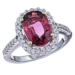 Pink tourmaline and white diamond gold ring