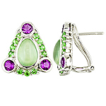 Prehnite, amethyst, tsavorite, and silver earrings.