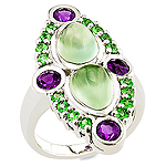 Prehnite, amethyst, tsavorite, and silver ring.