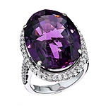 Purple amethyst and white diamond gold ring.