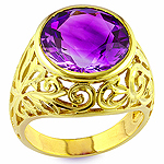 Purple amethyst and yellow gold ring.