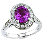 Purple sapphire and white diamond gold ring.