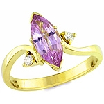 Purple spinel and white diamond gold ring.