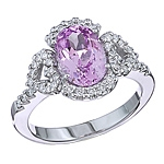 Purple spinel and white diamond gold ring