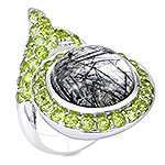Quartz, peridot and silver ring.