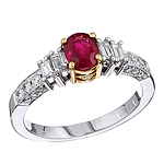 Red ruby and white diamond gold ring.