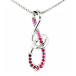 Red sapphire silver pendant