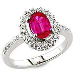 Red spinel and white diamond gold ring.