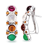 Rhodolite, hessonite, chrysoprase, moonstone, sapphire and silver earring.