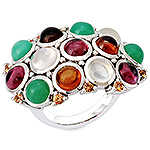 Rhodolite, hessonite, chrysoprase, moonstone, sapphire and silver ring.