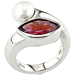 Rhodolite,pearl and silver ring.