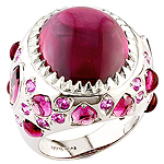 Rhodolite, sapphire and silver ring.