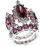 Rhodolite,white sapphire and silver ring.