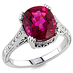 Rubellite and white diamond gold ring.