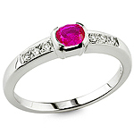 Ruby and white diamond gold ring.