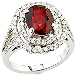 Ruby ,white diamond and white gold ring