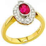 Ruby ,white diamond and yellow gold ring.