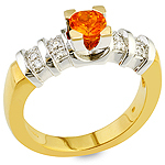 Spessartite ,white diamond ,white gold and yellow gold ring.
