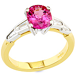 Spinel ,white diamond and gold ring.